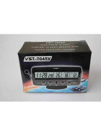 Электронные часы с термометром и вольтметром для автомобиля VST - 7045V