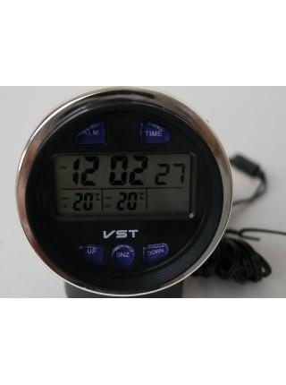 Электронные часы с термометром и вольтметром для автомобиля ВАЗ VST - 7042V