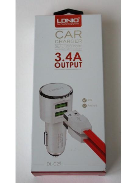 Автомобильный USB адаптер 5 В   3.4 А  для зарядки 2х устройств